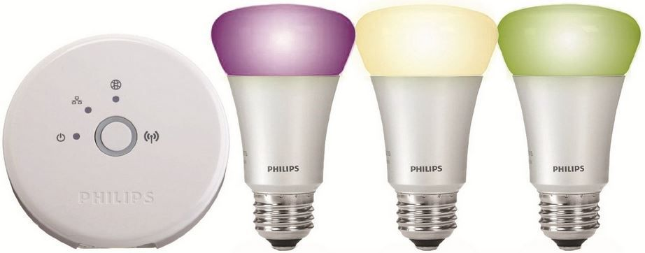 Philips hue   3 x 10W E27 LED Leuchten im Starter Kit inkl. hue Bridge für 142,98€