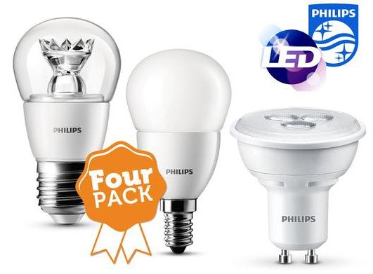 Philips LED Leuchtmittel 4er Pack Philips LED Leuchtmittel für 18,90€   E27, E14 und GU10