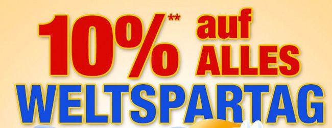 Plus mit 10% Rabatt zum Weltspartag   z.B. Hantelbank für 180€ (statt 219€)
