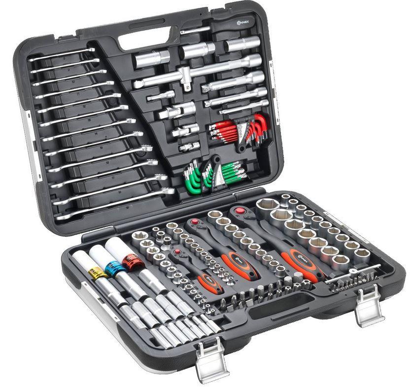 CONNEX COXBOH600160   Werkzeugkoffer mit Steckschlüsselset für KFZ (160 Teile) für 119,99€