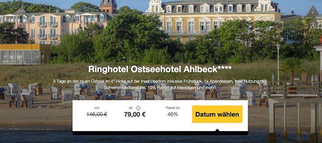 Ringhotel Ostseehotel Ahlbeck 3 Tage Ostsee im 4 Sterne Hotel mit Frühstück & Extras ab 79€ p.P.