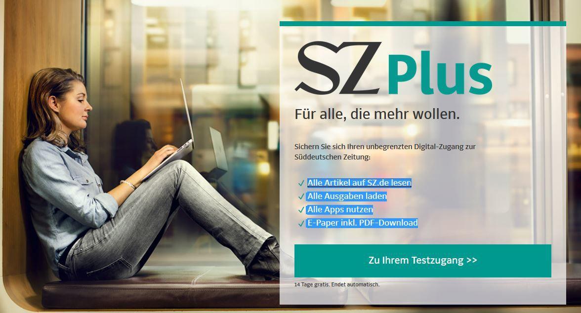 SZ Kostenlos! Süddeutsche Zeitung 2 Wochen digitales Abo gratis   endet automatisch!