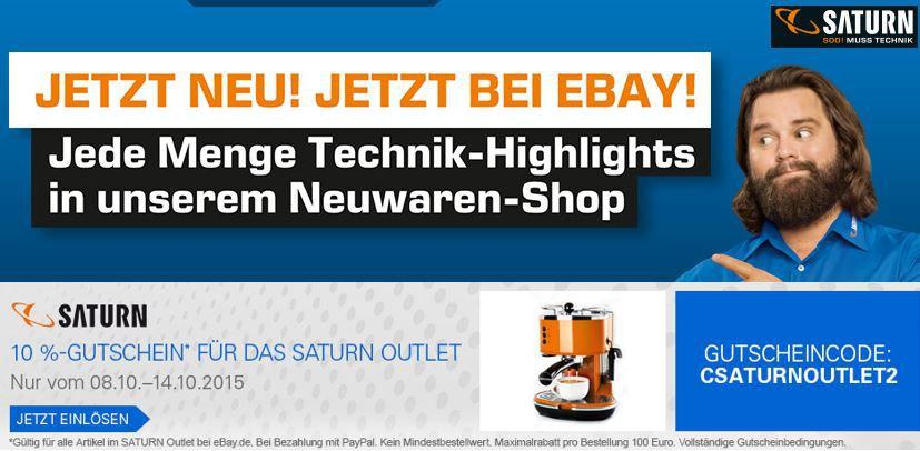 10% Rabatt Gutschein für das eBay SATURN Outlet