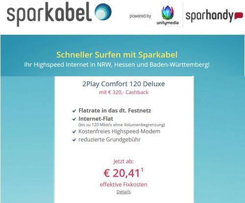 Sparkabel   DSL 120MBit/s + dt. Festnetz, dank Cashback für effektiv 20,41€ mtl. in NRW, Hessen u. B.Würtemberg