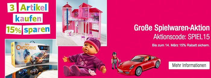 Spielwaren1 3 Spielwaren kaufen und 15% Rabatt erhalten bei Galeria Kaufhof