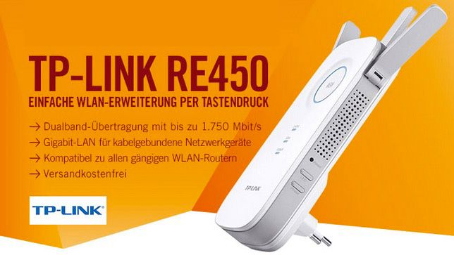 TP Link RE450 AC1750 Dual Band WLAN Repeater für 55€ (statt 65€)