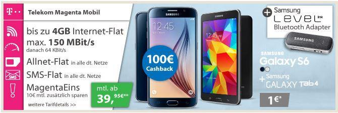 Telekom Magenta Samsung Galaxy S6 32GB + Galaxy Tab 4 + Level Link RG920 Bluetooth Adapter + Telekom Voll Flat ab nur 35,83€