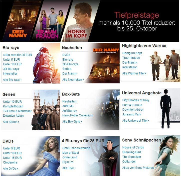 TIEFPREISTAGE   mehr als 10.000 Filme und Serien reduziert @Amazon