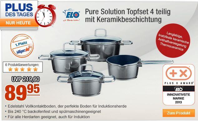 ELO Pure Solution Topfset   4 teilig mit Keramikbeschichtung statt 123€ für nur 89,95€