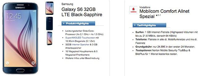 Vodafone Allnet Flat Samsung Galaxy S6 32GB + Vodafone Allnet Flat für 27,87€ monatlich