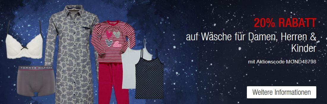 Galeria Kaufhof Mondschein Angebote mit 20% Rabatt auf Wäsche für Damen, Herren und Kinder!
