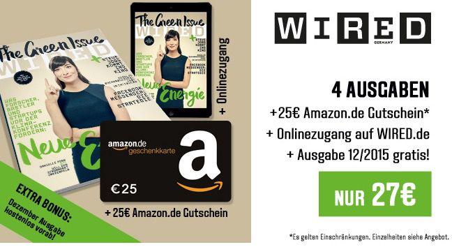 WIRED Jahresabo 4 Ausgaben WIRED für effektiv 2€ dank 25€ Amazon Gutschein
