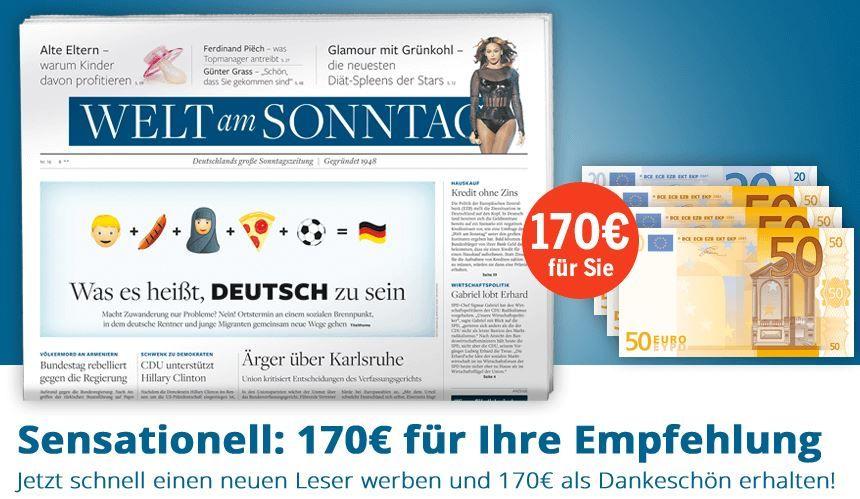 WaS1 Welt am Sonntag Jahresabo statt 218€ effektiv nur 48,40€