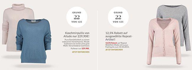 12,5% Rabatt auf Repeat Artikel oder Allude Kaschmirpulli für 230€