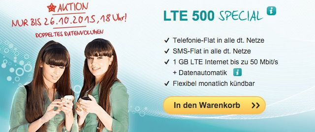 helloMobil LTE 500 Special helloMobil LTE 500 Special    Allnet Flat, 1GB LTE, monatlich kündbar für nur 12,99€ mtl.
