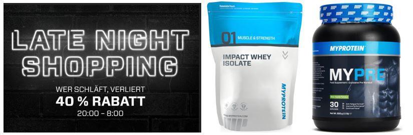 my Protein Late night shopping MYPROTEIN mit 40% Rabatt auf ausgewählte Artikel im Late Night Shopping