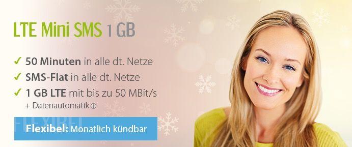 winSIM LTE Mini 1000 50Min. + SMS Flat + 1GB Daten für 5,99€ mtl.