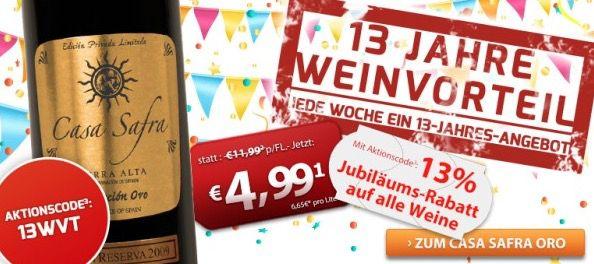 13% Rabatt auf ALLE Weine bei Weinvorteil   auch auf Restposten und Angebote!
