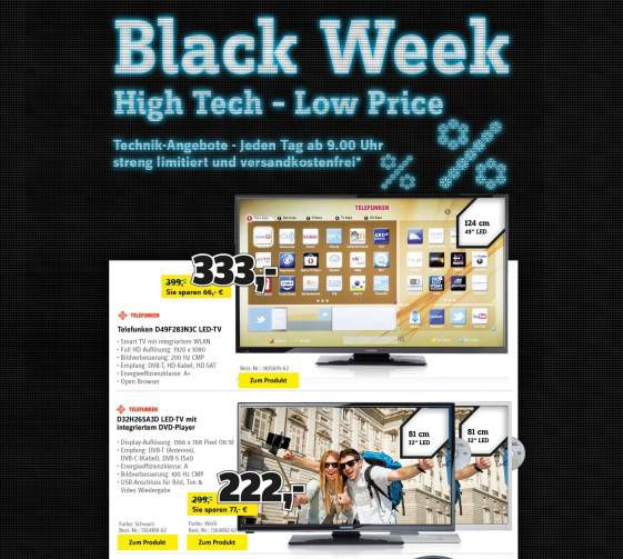 Black Friday Week @Conrad z.B. Telefunken 49″ LED TV für 325,50€