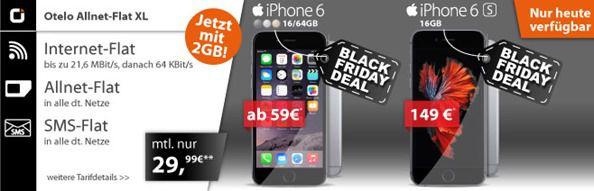 26 11 15 black friday Otelo XL (2GB, Sprach & SMS Flat) + iPhone 6 (ab 59€) oder 6S (ab 149€) für 29€/Monat