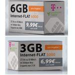 Telekom-Netz: LTE Datenflat mit 3GB für 6,99€ mtl. oder 6GB für 9,99€ mtl.