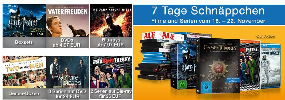 7 Tage Schnäppchen bei den Amazon DVD und Blu ray Aktionen