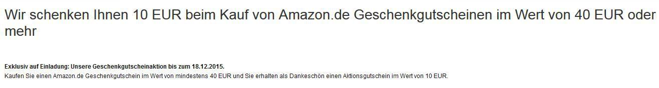 Amazon 10€ Bonus beim Kauf von 40€ Amazongutscheinen