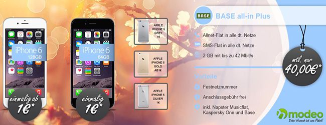 BASE all in Plus + iPhone 6 128GB für 40€ pro Monat
