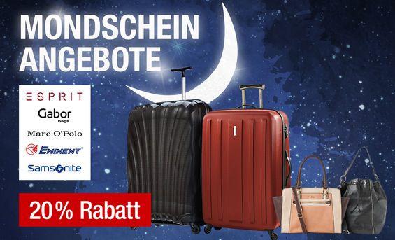 Galeria Kaufhof Mondscheinangebote mit 20% Rabatt auf Taschen & Trolleys / 20% Rabatt auf Jeans Hosen