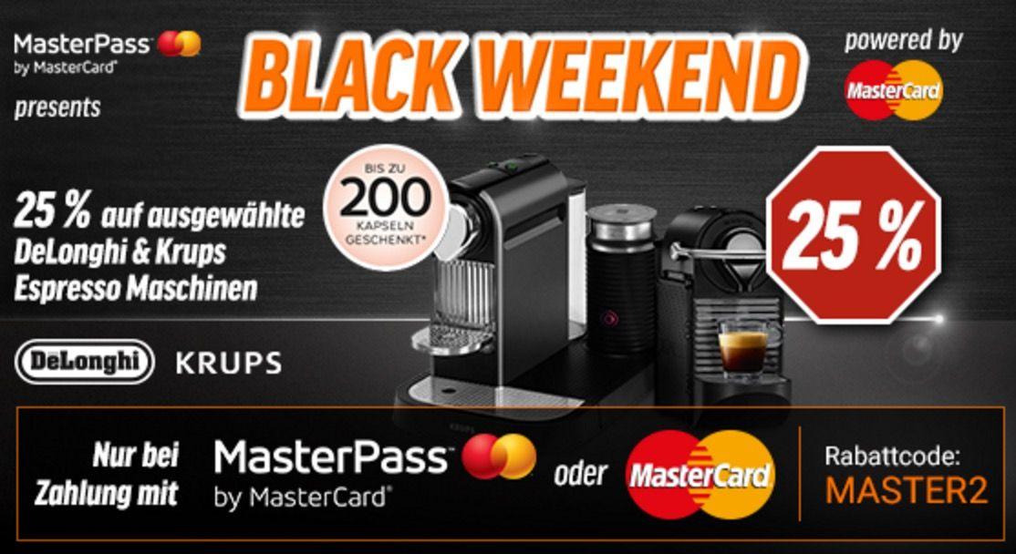 25% Rabatt auf Nespresso dank Masterpass + gratis Kaffee Kapseln