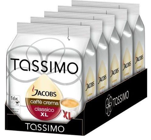 5er Pack Tassimo Jacobs Caffè Crema classico XL (5x 16 Port.) für 17,95€ inkl. VSK
