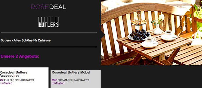 Butlers Gutschein 80€ Butlers Gutschein für 40€ bei vente privee