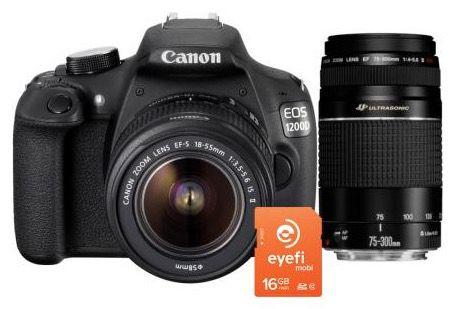 Canon EOS 1200D Kamera + 18 55mm + 75 300mm +16GB eyefi Karte für 449€ (statt 499€)