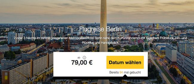 Flugreise nach Berlin Flugreise nach Berlin + ÜN im 3* Hotel + Frühstück ab 79€ p.P.   Knaller?
