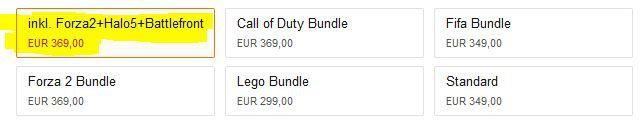XBox One 500 GB + Forza Horizon 2 + Star Wars: Battlefront + Halo 5: Guardians für 369€