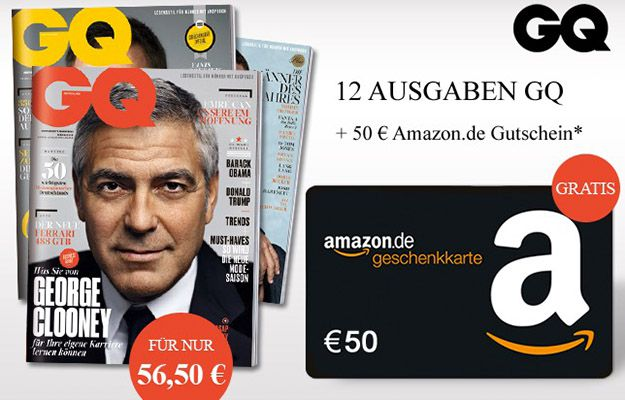 GQ Jahresabo1 GQ Jahresabo für effektiv 6,50€ dank 50€ Amazon Gutschein
