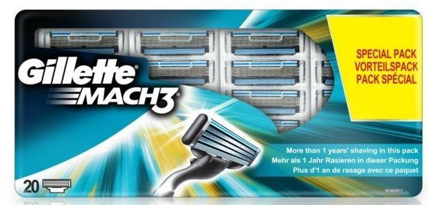 20 Gillette MACH3 Rasierklingen für 29,99€