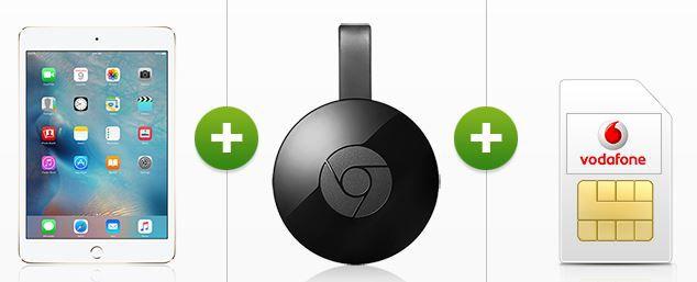 Google Chromecast 2 Vodafone DataGo L (6GB LTE) + iPad Air 2 + Cromecast 2 ab 27,49€/mtl.