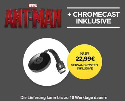 Google Chromecast 2015 inkl. Ant Man für 22,99€ (statt 39€)