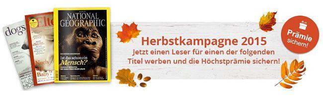 Herbstkampagne Abos Viele Jahresabos mit Prämien ab 7€   Herbstkampagne 2015