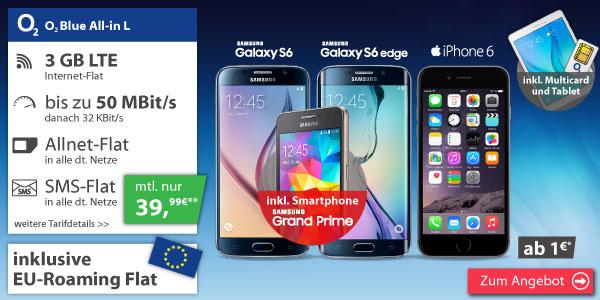 Samsung Galaxy S6 64GB + Galaxy Tab A 9.7 + Galaxy Grand Prime + O² Vollflat inkl. SMS und 3GB LTE ab 39,99€/mtl.