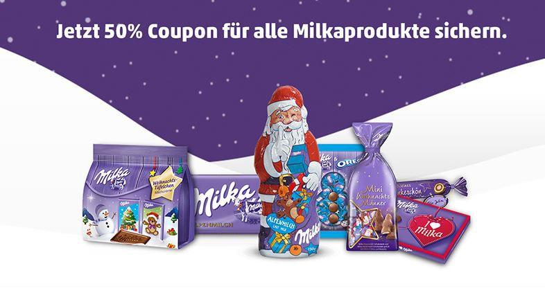 Milka Produkte mit 50% Rabatt   dank Coupon bei Penny vor Ort