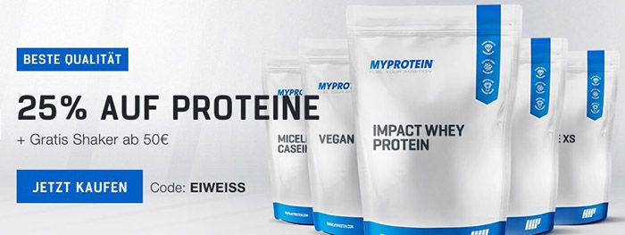 Myprotein1 MyProtein: 25% Rabatt auf Proteine + Gratis Shaker ab 50€   Nur heute!
