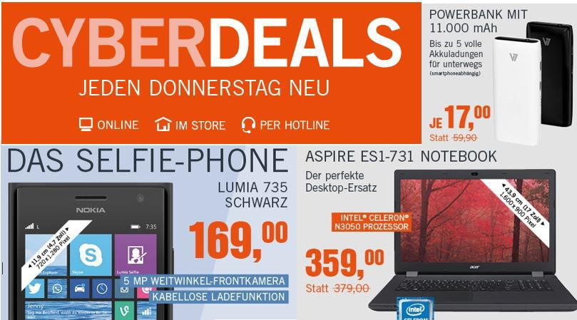 Nokia Lumia 735  Nokia Lumia 735 Windows Phone 8.1 für 169€ in den neuen Cyberdeals