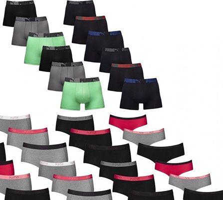 Puma Shorts 3er Pack Puma Boxershorts für Herren oder Hipster für Damen für je 4,99€ (statt 13€)
