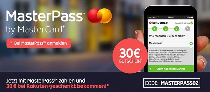 30€ Rakuten Gutschein mit 80€ MBW bei Zahlung mit Masterpass