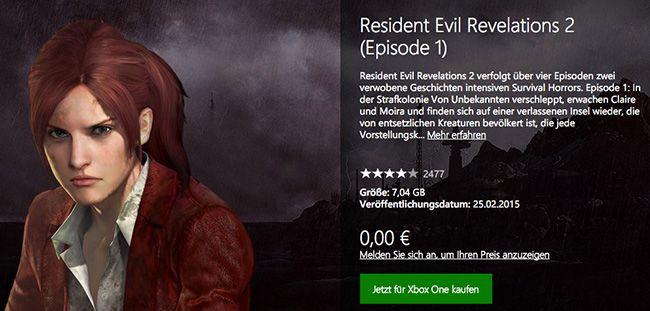 Gratis! Resident Evil Revelations 2 (Episode 1, Xbox One, inkl. Raid)