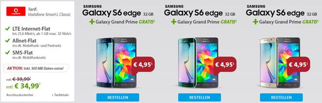 S6 Edge + Galaxy Grand Prime + Vodafone Smart L für 35€/Monat