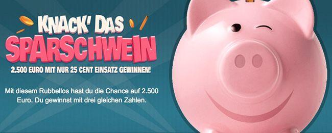 Sparschwein TOP! 25 Rubbellose für nur 1€ bei Lottoland   auch für Bestandskunden!