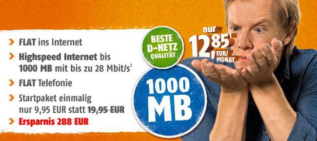 Telekom Allnet Flat Telekom Allnet Flat mit 1GB für 13,26€ monatlich